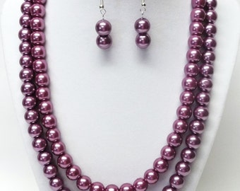Double Strand 10mm Purple Glass Pearl Necklace with Earrings Set