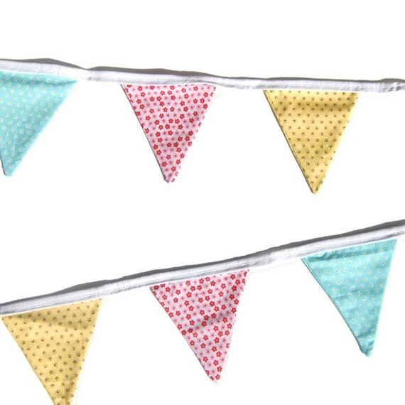 Flower Fabric Bunting Pretty Pink Blue Yellow Now Half Price