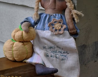 SALE! Hand stitched all natural Grungy Folk Art Doll. Primitive doll. Folk Doll, Child Friendly Rag Doll.