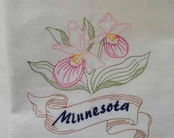 "Large 30"" x 30"" Minnesota Lady Slipper Embroidered Flour Sack Kitchen Towel 100% Organic Cotton"