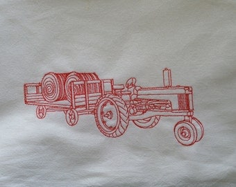 """Large 30"""" x 30""""  Embroidered Organic Cotton Flour Sack Kitchen Tractor with Hay Wagon"""