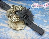 Leopard Print Headband, Beige, Black Hair Accessories, Girls Hair Bows, Leopard Hair Bow, Fabric Flowers, Hair Clip, Fabric Flower Brooch