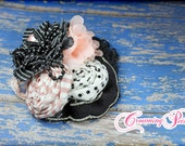 M2M Persnickety Nob Hill, Blush, Black, Ivory Headband, Baby Girl Hair Accessory, Hair Bow, Light Pink, Cream, Hair Piece, Persnickety Clip