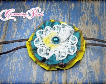 Teal, Yellow Flower Hair Clip, Turquoise Headband, Hair Accessory, Fabric Flower Brooch, Hair Piece, Fabric Flowers, Infant Hair Bow, Baby