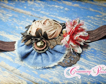 Fabric Flower Hair Accessory, Baby Girl Headband, Red, Blue, Brown Hair Bow, Hair Clip, Fabric Floral Brooch