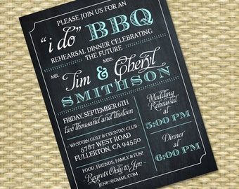 I Do BBQ Invitation Rehearsal Dinner Invite Couples Shower BBQ Wedding Shower BBQ Chalkboard Typography, Any Color Scheme, Any Event