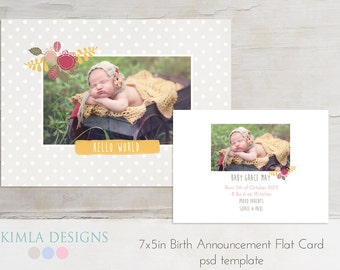 7x5 Birth Announcement, Card Template, Baby Baby Fall set2 psd templates