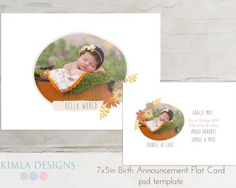 7x5 Birth Announcement, Card Template, Baby Baby Fall set3 psd templates