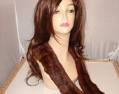 CO-36 Vintage genuine Rusty Red Brown Mink fur Collar from fur coat