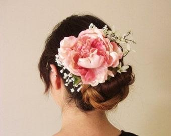 Pink White Peony Flower Clip, babys breath, rose clip, comb, pin, hair piece, bridesmaid, wedding, fascinator, bridal