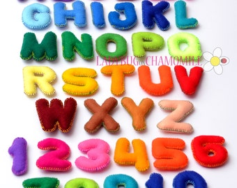 Upper Case Felt Magnet Letters and Numbers - CHOOSE your ITEMS and COLORS - Price per 1 item - make your own set , Educational Toy