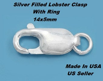 4 Pcs. 14 x 5 mm Silver Filled Lobster clasp With Rings   Made In USA 104SF