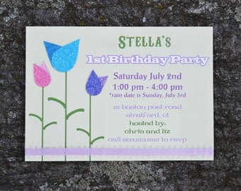 Paisley Patterned Tulip Layered Birthday Invitation
