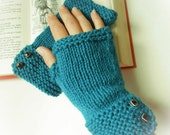 Fingerless Gloves Mitts Mittens Wrist Warmers Teal Turquoise Hand Knit Organic Merino Wool Fall Fashion Women's Medium