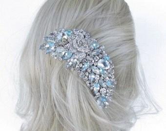 Bridal Wedding Tiaras, Aqua Tiffany Blue Bridal hair accessories, Tiffany Blue Aqua Wedding Hair Comb, Aqua Blue Crystal Bridal Hair Comb,