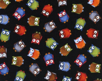 OWL'S on BLACK  BACKROUND  Color   pattern  1  Yard Piece - 100% Cotton Timeless Treasures