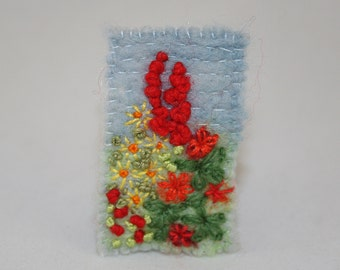 Cottage Garden Brooch - Felted and Embroidered