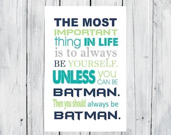 Batman Print Super Hero Print - Superhero Room Decor