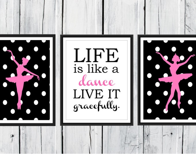 Ballet Wall Art - Polka Dots - Ballerina Prints  -  Set of 3