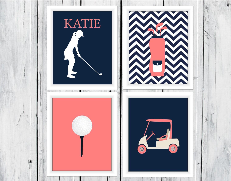 Golf themed decor girl custom colors canvas by theeducatedowl Golf decor for home