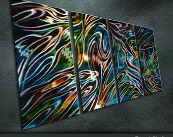 """Large Original Metal Wall Art Modern Abstract Indoor Outdoor Decor """"The future water world"""" by Ning"""