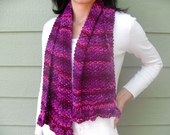 Ruffle edged Knitted Scarf - Pinkie