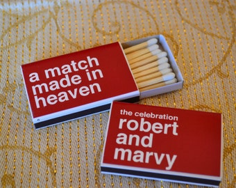 "50 Custom  Wedding Favor Matchboxes - ""The Celebration"""