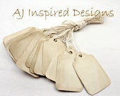 SMALL Shabby Chic Tea Stained Paper Tags with String --100 tags