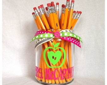 Personalized Apple Heart Teacher Pencil Holder