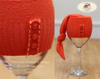 Girls Newborn Hat. Baby Hat. Newborn Beanie. Baby Beanie. Up cycled, Orange Autumn / Fall Elf Pixie Hat. Newborn Photography Prop. UK SELLER
