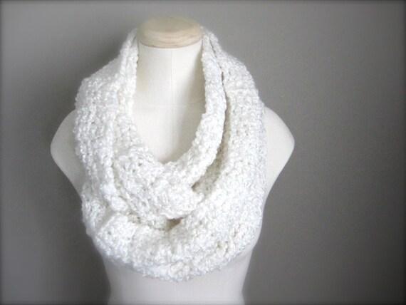 Crochet Bright White, Snow White Infinity Scarf, Women's White Scarf, Men's White Scarf, Unisex Scarf