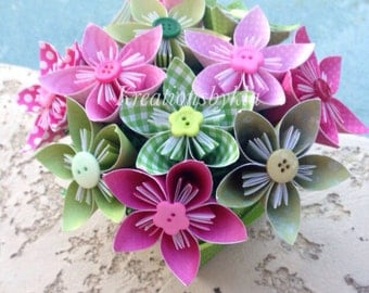 Garden of Eden  Kusudama Origami Flower Bouquet/flower Arrangement/ Wedding/ Bridal Shower/ Baby Shower/ Baby Shower/ Reception