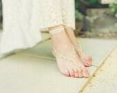 Mint cream bridal crochet barefoot sandals. Beach wedding, crochet leg thong