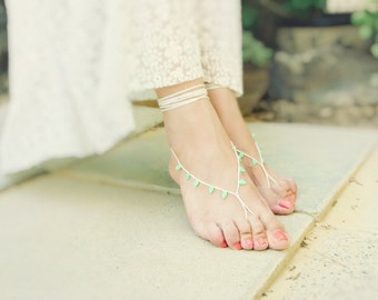 Mint cream bridal crochet barefoot sandals. Beach wedding, crochet leg thong