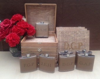 Groomsmen Gift Set of 7 Cigar Box/Flask Set - Laser Engraved Name - FREE SHIPPING - Stained and Personalized - Brown Leather Flask