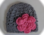 Crochet baby beanie hat newborn  0-3 3-6 month  infant girl grey gray with pink flower photography photo prop