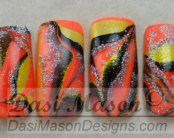 Holographic Halloween Water Marble in Yellow, Orange and Black Instant Acrylic Nail Set