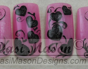 Black Hearted Instant Acrylic Nail Set