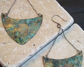 Minoan Bull Large Copper Patina Earrings