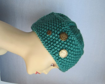Turquoise Pillbox hand knit hat for Woman
