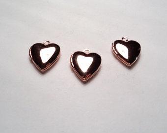 3 pcs - Rose Gold plated Heart mini Lockets - m258rg