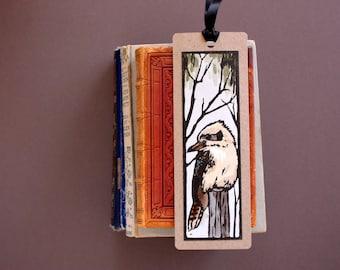 Kookaburra Book Mark - Hand Painted Lino Print Book Mark - Made in Australia