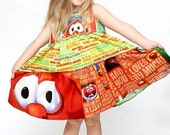 Veggie Tales inspired dress birthday dress outfit Bob and Larry LDM
