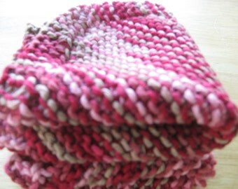 Red and Tan Knit dish Cloth