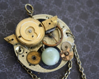 Clockwork and Jade Steampunk Pendant