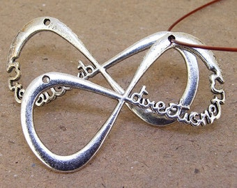 Set of One Bead forever Directioner INFINITY pendant Antique Silver Victorian INFINITY  Pendants Connector ----- 30x60mm ----- one Piece 2N