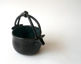 Salt Cellar, Sugar Bowl , Candy Bowl, Ceramic Basket with Hand Sculpted Gazelles in Black and Blue by Cecilia Lind, StudioLind