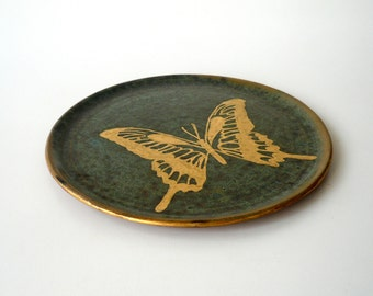 Butterfly Lunch Plate (II), Decorative Plate, Hand Painted in Gold on Variegated Dark Turquoise by Cecilia Lind, Studio Lind