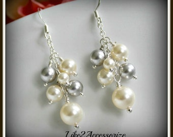 Swarovski Ivory Pearl Earrings, Bridesmaid Jewelry, Wedding Jewelry, Bridesmaid Gift, White Ivory Cluster Dangle Earrings, Bridal Earrings