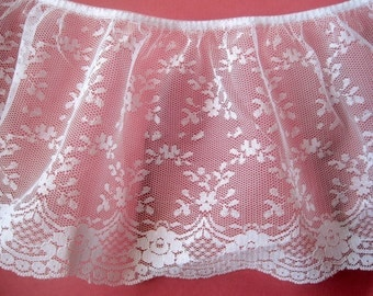"""Extra Wide Ruffled Victorian Lace, White, 6 3/4"""" inch wide, 1 Yard, For Victorian & Romantic Projects"""